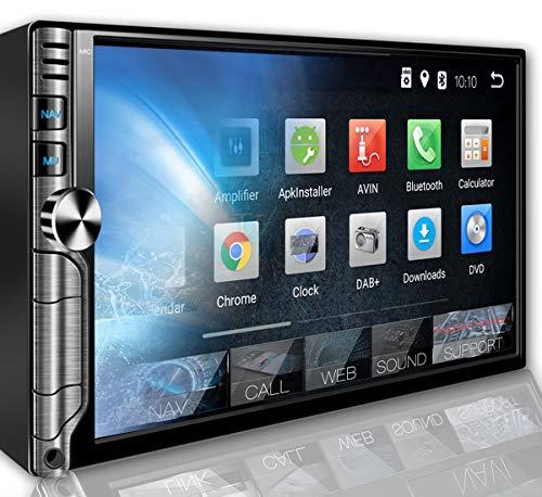 Tristan Auron BT2D7019A Autoradio mit Android 9.0, 7\'\' Touchscreen Bildschirm, GPS Navi, Bluetooth Freisprecheinrichtung, Quad Core, MirrorLink, USB/SD, OBD 2, DAB+, 2 DIN