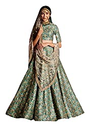 Fabron Sea green Sequins Embellished Raw silk Lehenga choli & Dupatta set