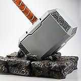 Bayram Mjölnir - martello di Thor in formato XXL, di metallo, scala 1:1, con piedistallo | lavorazione molto accurata - massiccio - la magica arma del dio Thor - Marvel Avengers