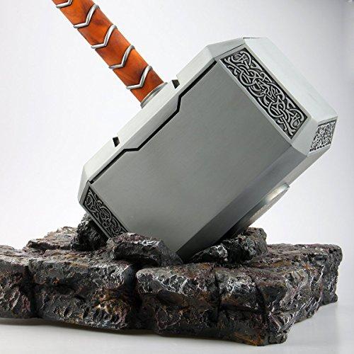 Thor Hammer XXL aus Metall Orginal 1:1 mit Gestell   Sehr Hochwertige Verarbeitung - Massiv - Die Magische Waffe des Gottes Thor - Marvel Avengers (Gottes Geschenk An Die Männer Kostüm)