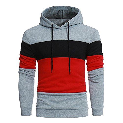 Sannysis Herren Kapuzenpullover Hoodie Sweatshirt mit Kapuze Jacke Mantel Outwear (3XL, Grau)