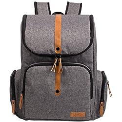 ALLCAMP Windelbeutel Multifunktion Großraum Taschen in Taschen, Stütz Kinderwagen mit Wickelauflage grau