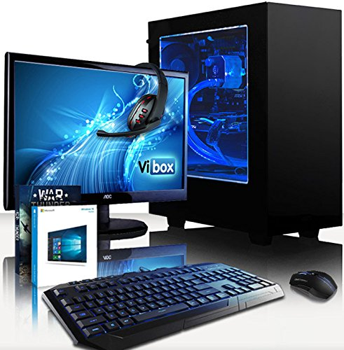 Cheap VIBOX Gaming PC – Apache Package 9.85 – 4.0GHz AMD FX 6-Core CPU, GTX 1050 Ti GPU, Advanced, Water Cooled, Desktop Computer with Game Bundle, 22″ HD Monitor, Headset, Gaming Keyboard & Mouse, Windows 10 OS, Blue Internal Lighting and Lifetime Warranty* (4.0GHz Overclocked Super Fast AMD FX 6300 Six 6-Core CPU Processor, Nvidia GeForce GTX 1050 Ti 4GB Graphics Card GPU, 16GB Team Elite 1600MHz RAM, 1TB Hard Drive, Raijintek Triton Liquid Cooler, 85+ Rated PSU, NZXT Case, AM3+ Motherboard) Online