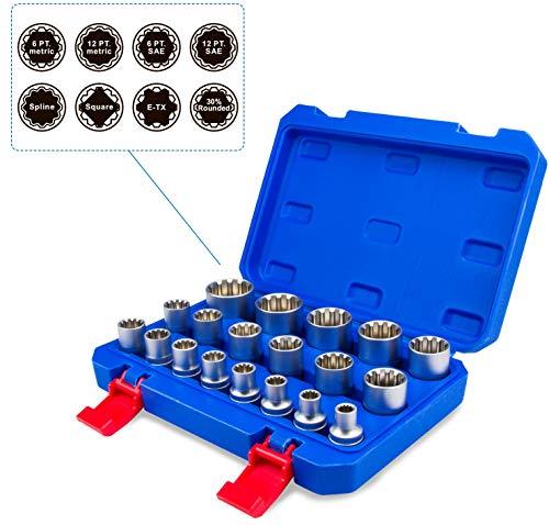 """Gear Lock Steckschlüssel Stecknüsse 1/2"""" 8-32 Vielzahn Torx Zoll Werkzeug Außen Innen Nüsse 19tlg Universal Satz"""