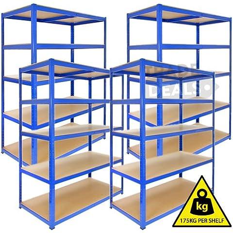IB-4 x Boltless deposito/Garage/Shed/casa/negozio commerciale,, Titan-Scaffale/Bay, 175 kg a mensola, colore: blu, 120 cm x 45 cm x 180 cm