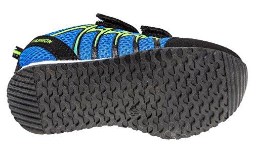 Gibra ® avec lederfußbett enfant bleu/noir/jaune fluo-taille :  25–36 Bleu - blau/schwarz/neongrün