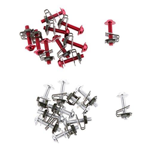 Sharplace 20x Moteur CNC M6 Carénage Boulons Kit Fixation Clips Lavage Vis Argenté Rouge
