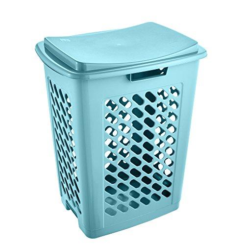 keeeper Wäschebox mit aufklappbarem Deckel, Luftdurchlässig, 60 l, Piet, Hellblau