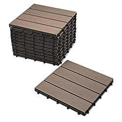 SAM WPC Fliesen, 30x30 cm, schoko, 11er Spar Set für 1m², Garten Klick-Fliese, Bodenbelag mit Drainage