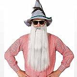 NET TOYS ZZ Top Bart Langer Vollbart weiß-grau Bayrischer Kunstbart Herren Oktoberfest Graubart Merlin Zaubererbart Zauberer Faschingsbart Karnevalskostüme Accessoires