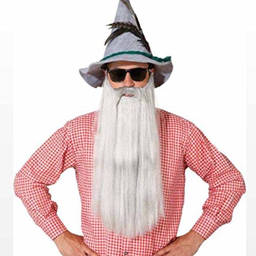 NET TOYS ZZ Top Bart Langer Vollbart weiß-grau Bayrischer Kunstbart Herren Oktoberfest Graubart Merlin Zaubererbart Zauberer Faschingsbart Karnevalskostüme - Zz Top Bärte Kostüm