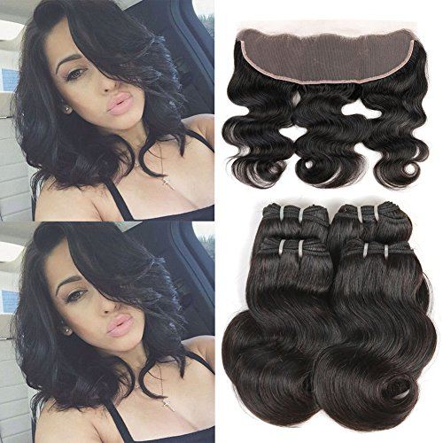 Ms taj brazilain corpo onda corta capelli umani con pizzo frontale unprocessed virgin hair body wave 4 bundles 50 g/pezzo con 13 × 10,2 cm chiusura frontale human hair weave natural color