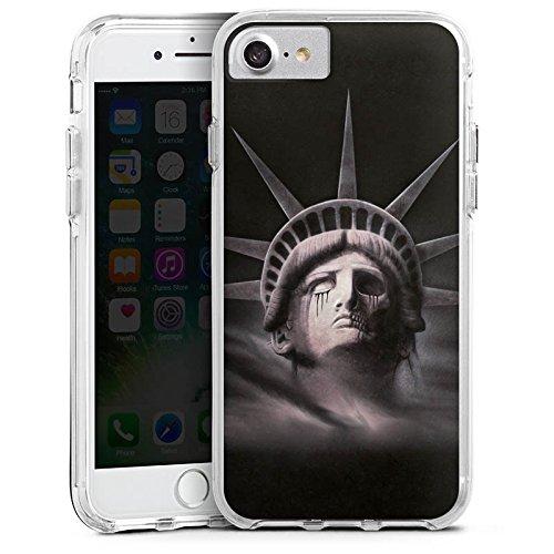 Apple iPhone 6s Plus Bumper Hülle Bumper Case Glitzer Hülle Freiheitsstatue Miss Liberty Black Bumper Case transparent