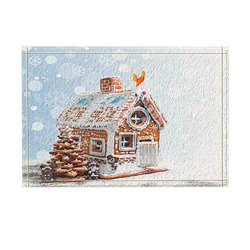 GAOFENFFR Hermosa casa de Madera de Dibujos Animados, árbol de Navidad, muñeca de Alce y Gran Polla Amarilla Resistente al Agua, Durable, Antideslizante, sin Productos químicos, tapetes, Alfombrillas