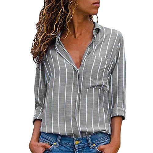 Black Velvet Bustier Top (iHENGH Damen Sommer Bequem Lässig Mode Frauen Casual Langarm Stripe Button T Shirts Tops Bluse)