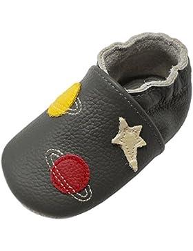 Yalion Baby Weiche Leder Lauflernschuhe Krabbelschuhe Hausschuhe Lederpuschen Sterne Planeten in 3 Farben