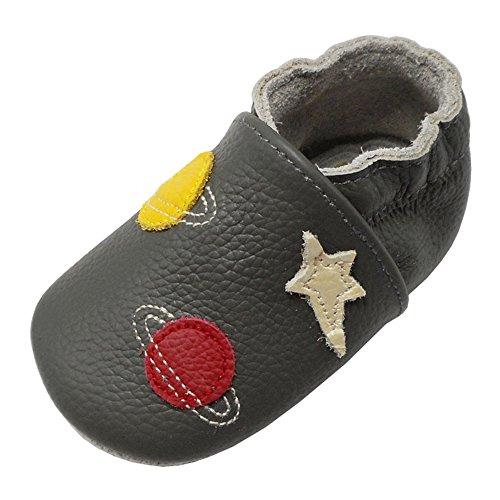 Yalion Baby Weiche Leder Lauflernschuhe Krabbelschuhe Hausschuhe Lederpuschen Sterne Planeten (20/21, Dunkelgrau)