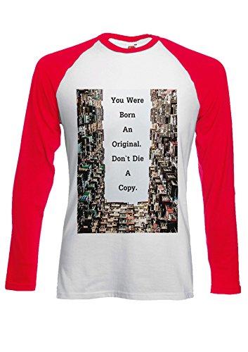 Born Original Do Not Die Copy Cool Novelty Black/White Men Women Damen Herren Langarm Unisex Baseball T Shirt Verschiedene Farben Rot