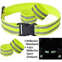 FUCNEN Reflective Belt Elastic Armband Waistband Stretchy Material for Safety Running Jogging Walking Biking Cycling Hi Vis Belt Safety Gear