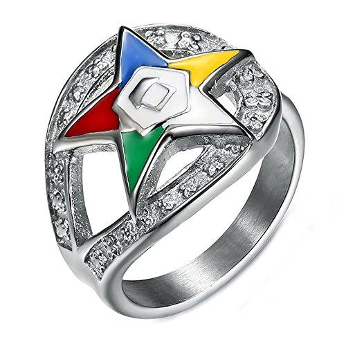 Herren Bunte Pentagram Sterne Drop Titanium Stahl Ringe,Größe,59(18.8)
