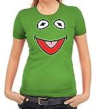 Karneval Fasching Verkleidung Damen T-Shirt Gruppen & Paar Frosch Kostüm, Größe: L,Apfelgrün