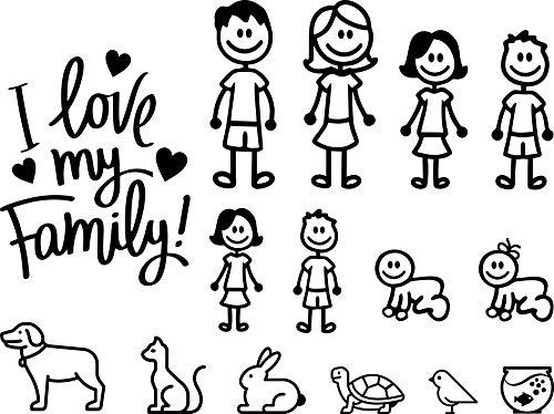 Autodomy Pegatinas Familia Paquete de 15 Adhesivos Calcomanias Stickers para Coche (Negro)