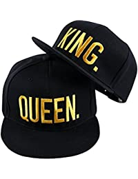 Baseball Cap For Lovers Couple QUEEN And KING -Black