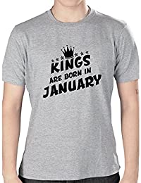 Grafytees Kings Are Born In January Crown Grey Unisex Graphic Printed Birthday Month Round Neck T-Shirt