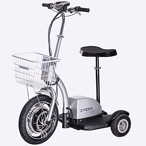 Lunex Scooter électrique à Tricycle de mobilité 3 Wheeler Trike Panier Siège 35 km/h (Argent)