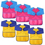 LOKIPA Waterproof Paint Apron for Kids , Children's Art Smock Long Sleeve with 3 Roomy Pockets,Pack of 6 Suitable for 4-8 Years