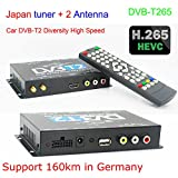 KUNFINE TV Box Fernsehen HDTV Auto DVB-T265 Besondere für Deutschland DVB-T2 H. 265 HEVC Multi PLP Digital TV Receiver Automobil DTV Box mit Zwei Tuner-Antenne freenet Test