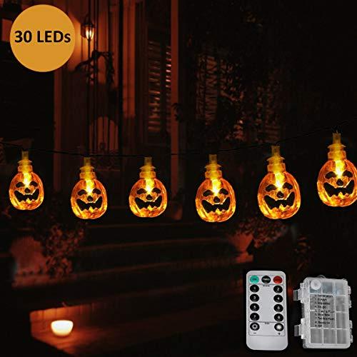 (AllGoodWare Halloween-Schnur-Lichter, 395cm 30LEDs Jack-O-Laterne Kürbis-Lichter mit Fernbedienung, 8 Modi Wasserdichte batteriebetriebene Halloween-Lichter im Freien, warmes Weiß)