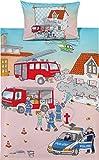 Kinderbutt Bettwäsche mit Druckmotiv Feuerwehr Flanell blau/rot/natur Größe 135x200 cm (80x80 cm)