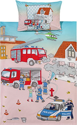 Kinderbutt Bettwäsche mit Druckmotiv Feuerwehr Flanell blau/rot/natur Größe 100x135 cm (40x60 cm)