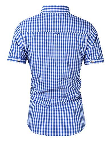 KoJooin Trachten Herren Hemd Trachtenhemd Langarmhemd Freizeithemd Baumwolle - für Oktoberfest, Business, Freizeit (2XL, Blau1) - 3