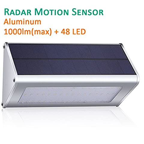 GIARIDE 48 LED 1000 Lumens Outdoor Radar Motion Sensor Solar Light Aluminum Alloy Housing Waterproof Automatic for Garden, Fence, Patio, Yard, Deck, Path and More