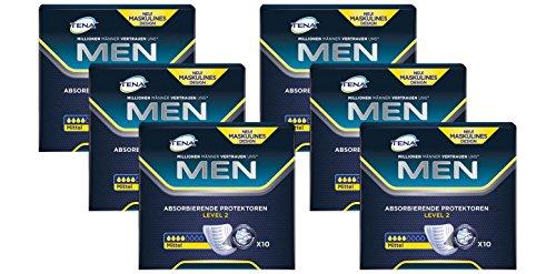 Tena Men Level 2 Hygiene-Einlagen für Männer mit leichter bis mittlerer Blasenschwäche/Inkontinenz - sicher, diskret und geruchsneutralisierend 6er Pack (6 x 10 Stück)