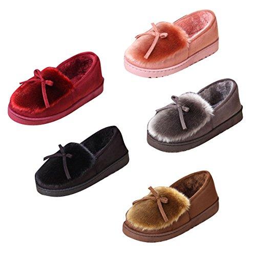 Mocasines Zapatilla Mujeres Hombre- Juleya Forrado De Invierno Cálido Algodón Mocasín Mocasines De Gamuza Zapatos Casuales Zapatilla Gris Rosa Rojo Negro Caqui 36 37 38 39 40 Negro