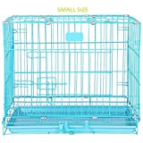 PSK PET MART 18 Inch Single Door Blue Folding Metal Dog Cage/Crate/Kennel with Removable Tray