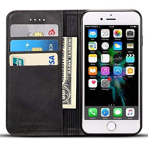 Apple iPhone 6 Plus/6s Plus Flip Case Hülle Leder Handy Hülle Tasche Schale mit 3 Kredit Karten Hülle Geldklammer mit Unsichtbarem Magnet Verschluss und Stand Funktion Schutzhülle,Schwarz