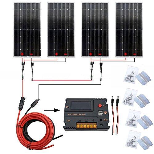 600W 12V  24V Off Grille Système PV solaire   4 pcs 150W Mono Panneaux et  régulateur de charge 20A avec écran LCD Port USB pour batterie 12V  24 V ... 0b8cf4900090