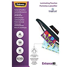 Fellowes Enhance A5 80 Micron Laminating Pouches (Pack of 100), Transparent