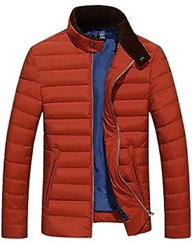 Casual color sólido de los hombres calientes del invierno abajo cubre la chaqueta , orange , l