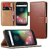 EximMobile - Book Case Handyhülle für Motorola Moto G 2. Generation mit Kartenfächer | Schutzhülle aus Kunstleder | Handytasche als Flip Case | Cover in Braun | Handy Tasche | Etui Hülle Kunstledertasche
