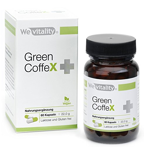 Wevitality Green Coffe X Plus MIT GESCHENK: 60 grüner Kaffee Kapseln mit 200mg Kaffee Extrakt, Herstellung in Deutschland