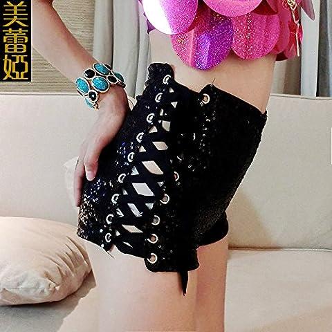 CU@EY Femme bracelet sequins, taille haute Slim short Club.,Black,L