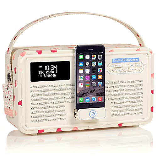 VQ Retro Mk II DAB/DAB+ Digital- und FM-Radio mit Bluetooth, Lightning Dock und Weckfunktion - Emma Bridgewater Pink Hearts Fm-transmitter Charge Dock