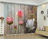 LX-curtain Polyester Blackout Vorhang, Lotus 3D-Druck Fenster Jalousien Anti-UV, Lärm zu verhindern, Strahlung mit Schlafzimmer Wohnzimmer Dekoration zu verhindern, 80*84 inch