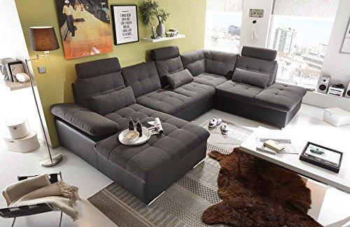 lifestyle4living Wohnlandschaft in Lava und Schwarz mit Verstellbaren Kopfstützen und Armteilen, Couch ist rückenecht bezogen und hat einen Bettkasten