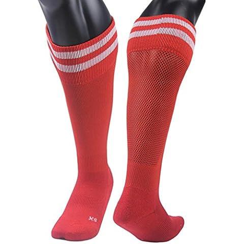 Clode® 1pair medias fútbol calcetines de los niños al aire libre 9-13 años fútbol calcetines (Rojo)